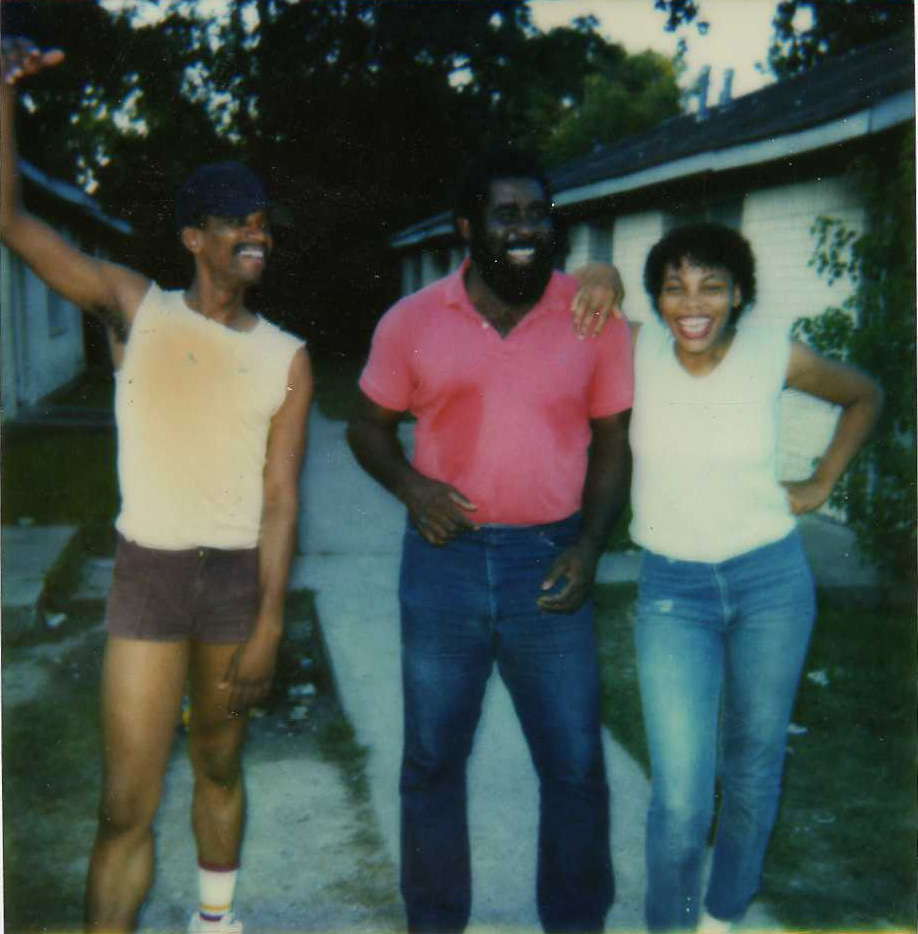 "Bassman Rick Morris, ""Big Otis"" Porchia and some girl on rehersal break, Houston '84"